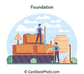 trabalhador, preparar, construtor, profissional, concreto, concept.