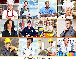 trabalhadores, collage., pessoas