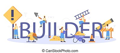 trabalhadores, construir, construtor, tipográfico, profissional, header., lar