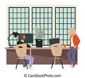 trabalhadores escritório, reunião, partir, café, sócios