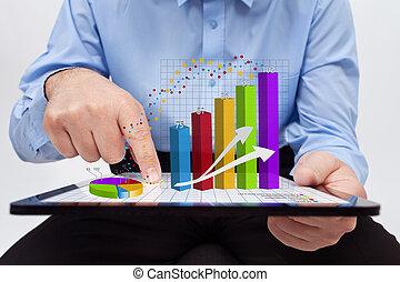 trabalhando, anual, -, gráficos, closeup, relatório, homem negócios