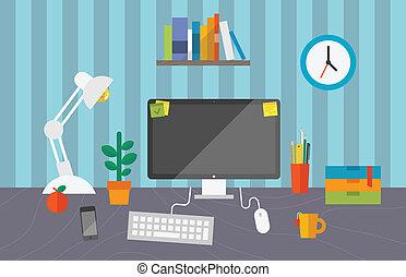 trabalhando escritório, espaço
