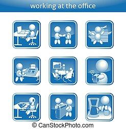 trabalhando escritório, figura, botão, trabalho, botões, trabalho, vetorial, vara, homem negócios, macho, ícone