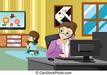 trabalhando escritório, mãe