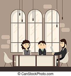trabalhando, escritório negócio, pessoas, discutir, businesspeople, escrivaninha, reunião