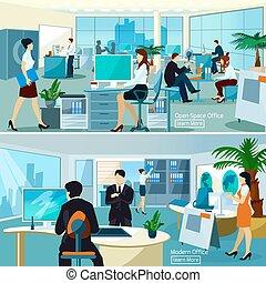 trabalhando escritório, pessoas, compositions