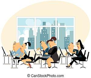 trabalhando escritório, pessoas