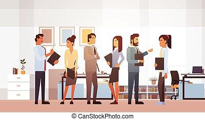trabalhando, grupo, escritório negócio, pessoas, reunião, businesspeople, brainstorming, discutir