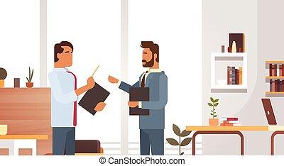 trabalhando, grupo, escritório negócio, reunião, businesspeople, discutir, homem