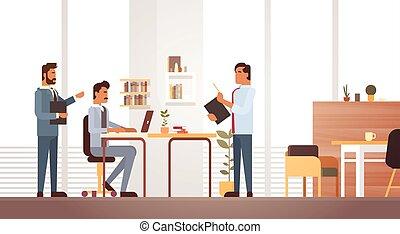 trabalhando, grupo, escritório negócio, reunião, businesspeople, escrivaninha, discutir, homem