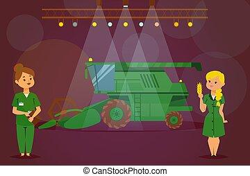 trabalhando, harvester, máquina, agrícola, apartamento, illustration., novo, apresentação, vetorial, combinar, mulher, personagem, trator, caminhão, demonstração