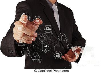 trabalhando, homem negócios, logística, tecnologia, mão, conceito