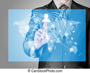 trabalhando, mostrar, modernos, computador, novo, homem negócios
