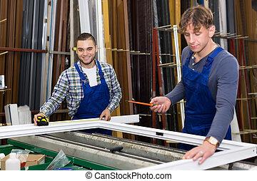 trabalhando, trabalhadores, dois, janela, perfis