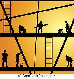 trabalho, construção, vetorial, trabalhador, ilustração
