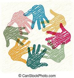trabalho equipe, mãos