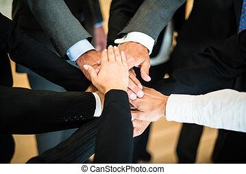 trabalho equipe, -, pilha, mãos