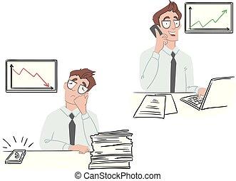 trabalho, escritório, negócio, icons., vetorial, ilustração