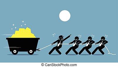trabalho, trabalhando, help., trabalhadores, difícil, junto, líder, encorajamento, empregados