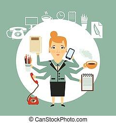 trabalhos, difícil, ilustração, secretária
