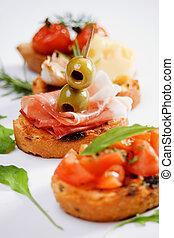 tradicional, alimento, bruschette, italiano, aperitivo