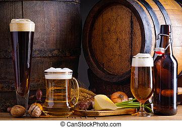 tradicional, alimento, cerveja