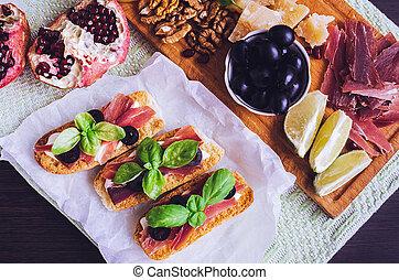 tradicional, antipasto, italiano