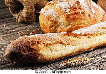 tradicional, assado, freshly, pão francês
