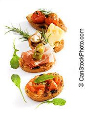 tradicional, bruschette, italiano, aperitivo