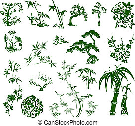 tradicional, clássicas, bambu, chinês, tinta