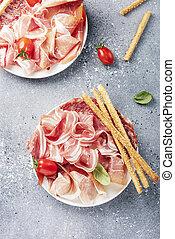tradicional, italiano, antipasto