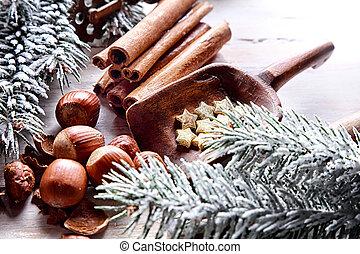 tradicional, natal, fundo, festivo