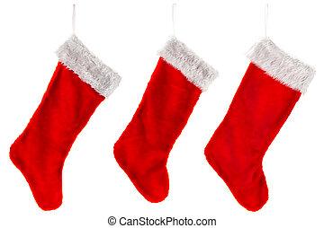tradicional, natal, três, meia, vermelho