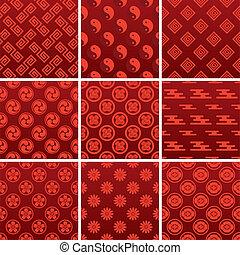 tradicional, padrão, japoneses, vermelho