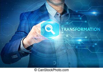 transformação, concept., interface., tecnologia, botão, internet, chooses, toque, negócio, tela, homem negócios