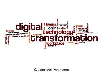 transformação, nuvem, digital, palavra, conceito
