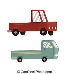 transporte, ícones, set., service., retro, despacho, dois, vetorial, style., entrega, isolado, branca, pickup, caricatura, vindima, caminhão, experiência., car, apartamento, carga, concept.
