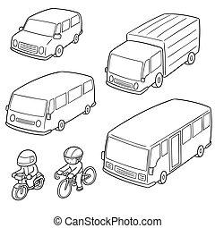 transporte, vetorial, jogo