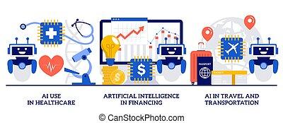 transporte, viagem, modernos, robotic, minúsculo, assistente, inteligência, pessoas., ai, cuidados de saúde, ilustração, financiamento, conceito, tecnologias, jogo, abstratos, artificial, vetorial, uso, automatizado