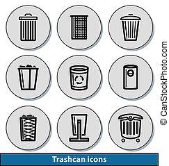 trashcan, luz, ícones