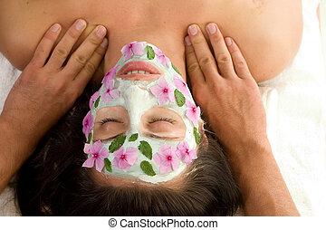 tratamento beleza, máscara, massagem