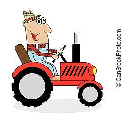 trator, agricultor, passeios, macho