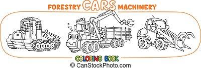 trator, harvester, tinja livro, silvicultura, machinery., deslizamento, jogo, manipulador, carros