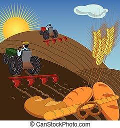 tratores, terra, arar, agricultores