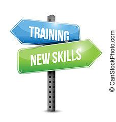 treinamento, habilidades, ilustração, sinal, desenho, novo, estrada