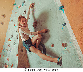 treinamento, indoor, pequeno, livre, menina, escalador