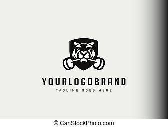 treinamento, morder, barbell, tiger, vetorial, modernos, desenho, inspiration., linha, logotipo, illustration., ícone, modelo, estilo, acampamento