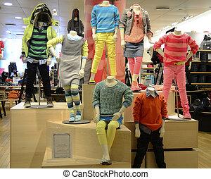 trendy, crianças, roupa, confortável