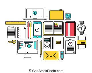trendy, itens, estilo vida, todos os dias, ícones