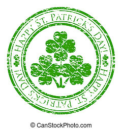trevo, dentro, grunge, selo, texto, st., isolado, patrick's, borracha, stamp), escrito, vetorial, (happy, fundo, illustrator, branca, dia, four-leaves